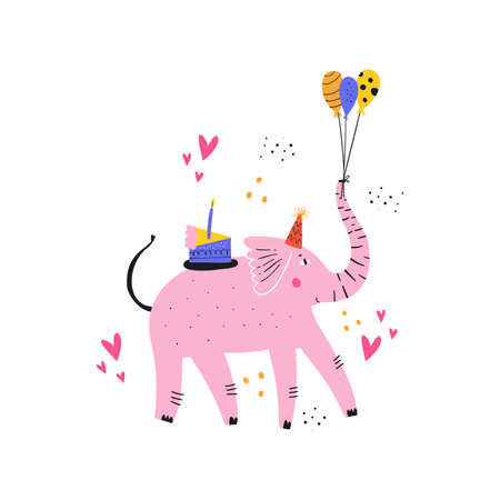 Pink elephant with cake flat