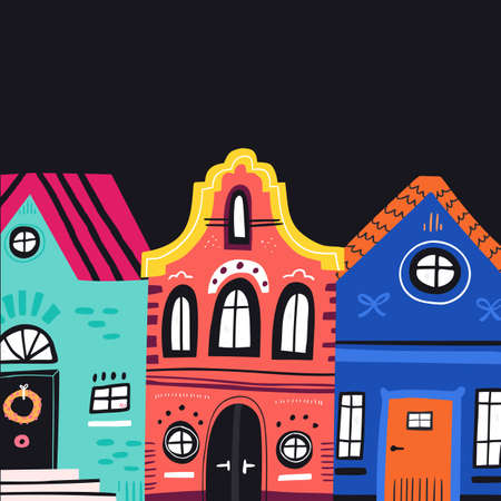 Cute vintage houses facades flat