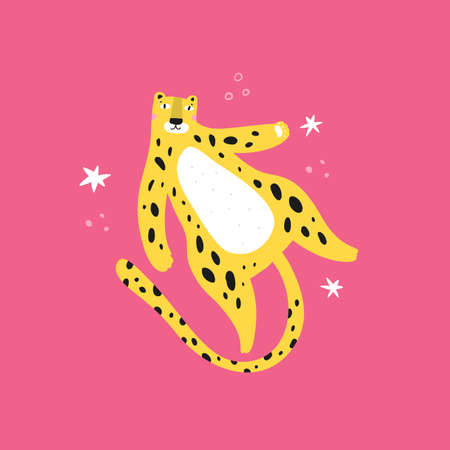 Cute leopard with stars flat vector illustration. Adorable jaguar cartoon character isolated on pink background. Funny spotted jungle animal, cheetah lying on back. Children book illustration.