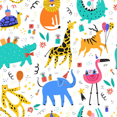 Animals at party flat vector