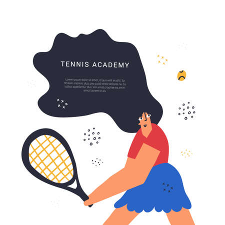 Tennis academy class hand drawn banner template. Sport racquet game lesson poster flat vector layout with text space. Backhand shot technique. Sportswoman training, hitting ball cartoon character
