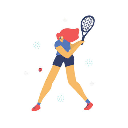 Tennis player in motion flat hand drawn illustration. Athlete hitting two-handed backhand cartoon character. Young girl in sportswear scandinavian style. Active lifestyle concept. T shirt print design Фото со стока - 138417262