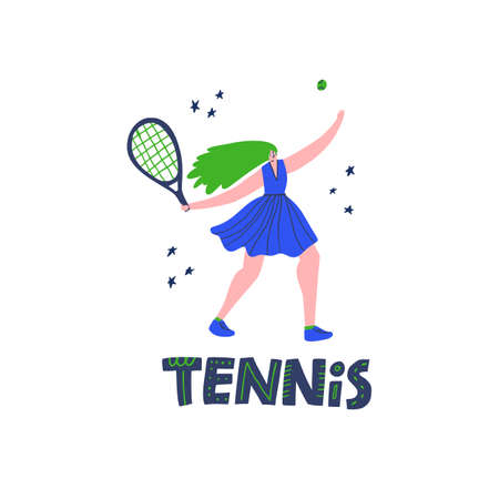 Professional tennis player hand drawn vector illustration. Sportswoman with handwritten lettering composition. Athlete holding racket flat character. Girl starting game point, serving ball Stock Illustratie