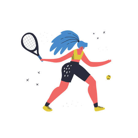 Woman playing tennis hand drawn vector illustration. Sportswoman with racket. Female athlete hitting ball cartoon character. Young girl in sportswear isolated flat design element on white Vectores