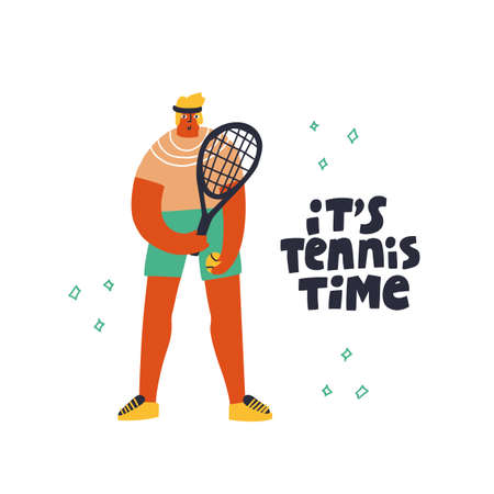 Tennis player in sportswear flat vector illustration. Sportsman with handwritten lettering. Male athlete holding racket and ball cartoon character. It is tennis time hand drawn typography