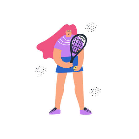 Standing tennis player flat hand drawn illustration. Young girl holding racket and ball in hands cartoon character. Female athlete in sportswear. Active lifestyle concept. T shirt print design