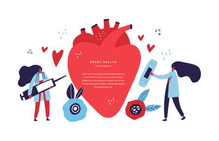 Cardiology clinic staff flat vector