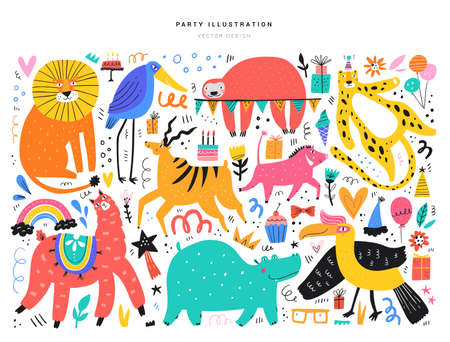 Animals and party symbols vector