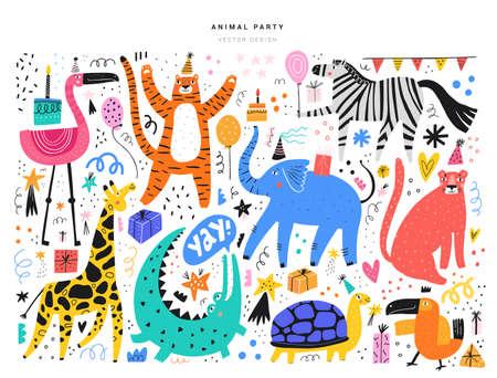 Animali esotici e simboli di eventi Vettoriali