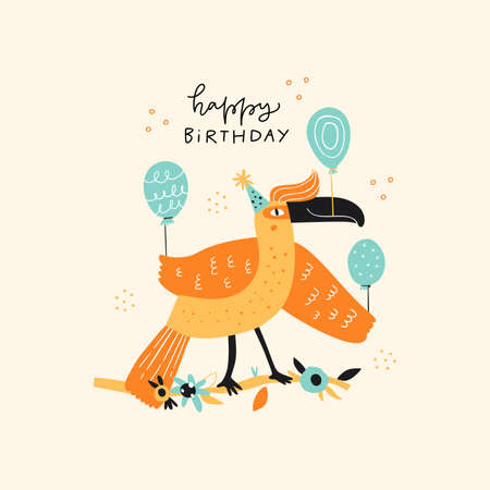 Bird with balloons flat illustration with typography. Toucan at party. Animal in bday hat hand drawn vector character on white background. Happy Birthday handwritten congratulation phrase