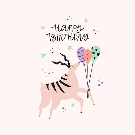 Antelope with birthday greeting flat vector illustration. Happy Bday congratulation handwritten phrase for postcard design. Funny African animal. Gazelle with balloons hand drawn character Ilustrace