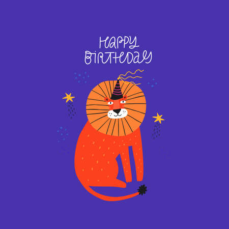 Lion flat vector illustration with greeting typography. Happy Birthday congratulation handwritten phrase. Exotic wild funny animal in party hat hand drawn character on blue background Stok Fotoğraf - 138738924