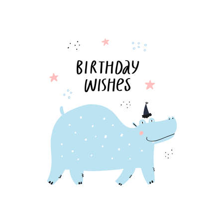 Hippo flat vector illustration with greeting typography. Birthday wishes congratulation handwritten phrase. Exotic wild funny animal. Hippopotamus in party hat hand drawn character on white background