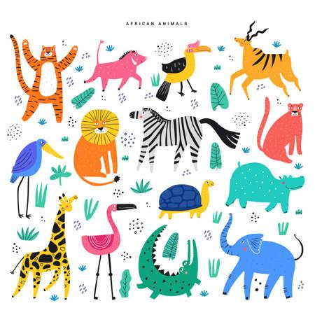 Plantas y animales africanos planos.