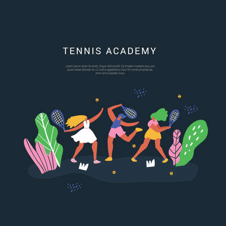 Tennis academy vector social media banner template. Racquet sport classes and lessons poster hand drawn layout with text space. Sportswomen training, playing outdoor cartoon characters Illustration