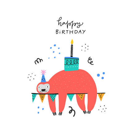 Happy birthday wishes cute greeting card template. Adorable sloth with bday cake cartoon illustration. Funny animal in party hat with handwritten lettering for childish postcard, poster design