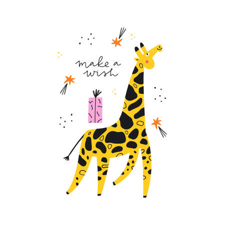 Bday party event vector greeting card template. Cute giraffe with shooting stars and make a wish slogan cartoon illustration. Funny childish postcard design, children holiday celebration poster layout