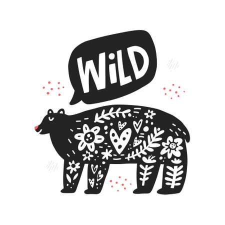Black bear hand drawn illustration with typography. Monocolor lettering in speech cloud. Cartoon wild animal and inscription. Herb stems, flowers, hearts and dot spots design element 일러스트
