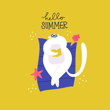 Cute cat in glasses on deck chair. Reading book and relax. Scandinavian flat hand drawn vector character illustration of summer vacation on the sand beach with ice cream and starfish. Hello summer quote. Vetores
