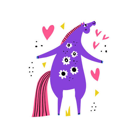 Cute dancing cartoon horse with flower's stain's. Happy mare rearing. Hand drawing scandinavian style. Equestrian sport flat color vector illustration. Racehorse clipart. Hippodrome.