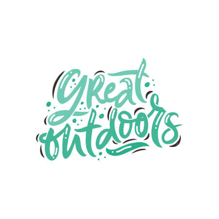 Great outdoors hand drawn color vector lettering. Calligraphic freehand inscription. Abstract colorful drawing with text isolated on white background. Drops and spots design element. Flat illustration