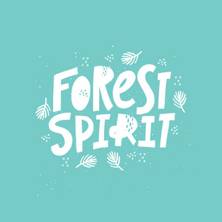 Forest spirit hand drawn monocolor vector lettering. Freehand white inscription isolated on blue background. Tree branches and dot spots design element. Nature ambience, woodland concept 일러스트
