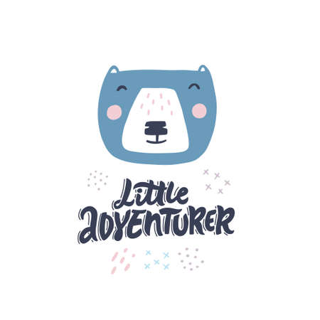 Little adventurer hand drawn color vector lettering. Cute animal in scandinavian style flat illustration. Wild bear and inscription calligraphy on white backdrop. Child t shirt design idea Ilustracja