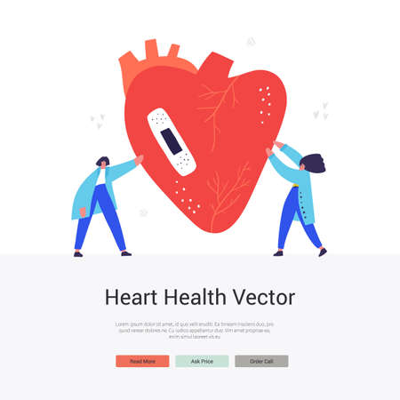 Cardiology department flat vector landing Ilustrace