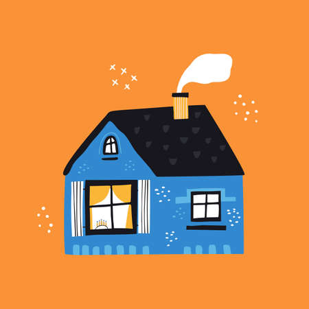 House with tiled roof flat vector illustration. Cute blue cottage exterior with smoke from chimney isolated on orange background. Traditional Jewish holiday symbol, menorah on windowpane Zdjęcie Seryjne - 140352919