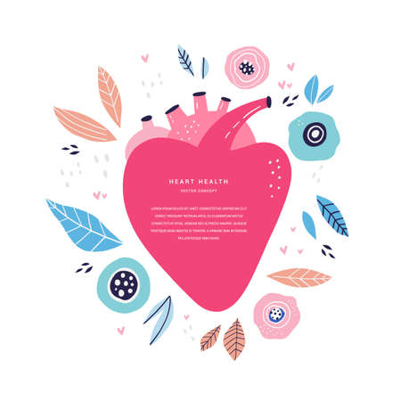 Heart health monitoring flat vector banner template. Human cardiac system organ with decorative floral elements cartoon illustration. Cardiology science poster design with text space Illustration