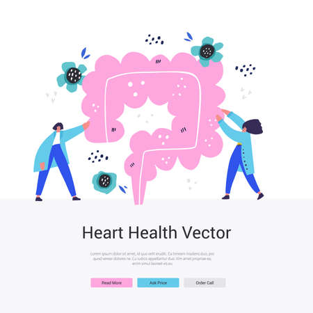 Intestine health landing page. Rectum vector flat hand drawn illustration with two health care professional. Preventing cancer cartoon design. Web design for medical or scientist organization.
