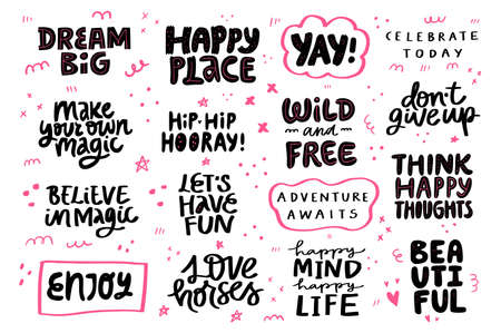 Congrats festive, motivation, lifestyle phrase set. Quote hand drawn black and pink lettering. Ilustracja