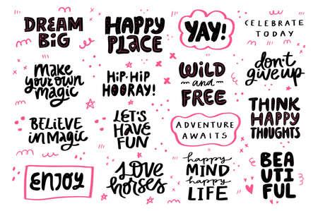 Félicitations festives, motivation, ensemble de phrases de style de vie. Citez les lettres noires et roses dessinées à la main.