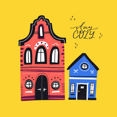 Cozy houses flat vector greeting card template. Old European architecture cartoon illustration with lettering. Cute ancient townhouses with Stay cozy phrase for social media post design
