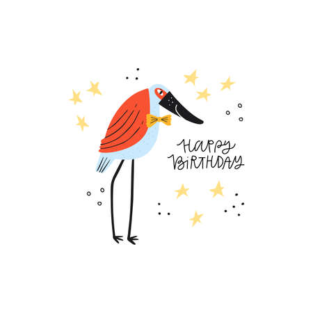 Heron with happy birthday phrase flat illustration. Exotic wild animal hand drawn vector character on white background. Elegant bird with congratulation phrase. Greeting card design element Ilustrace