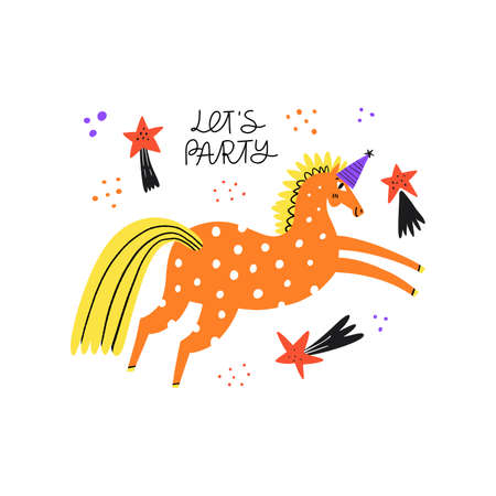 Horse in cap for party. Funny stallion galloping, jumping, vaulting. Lets party. Handwriting lettering phrase. Equestrian sport flat hand drawn scandinavian vector illustration. Racehorse clipart.