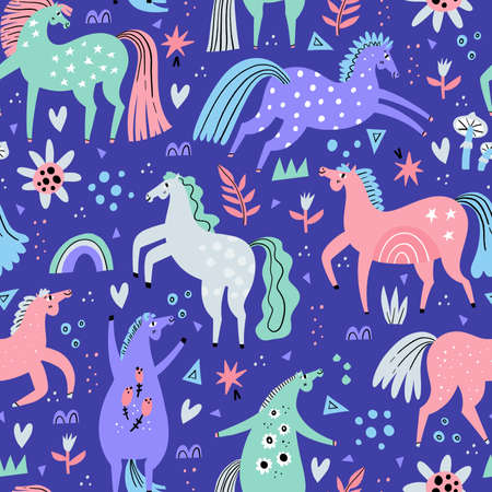 Cute horses hand drawn color