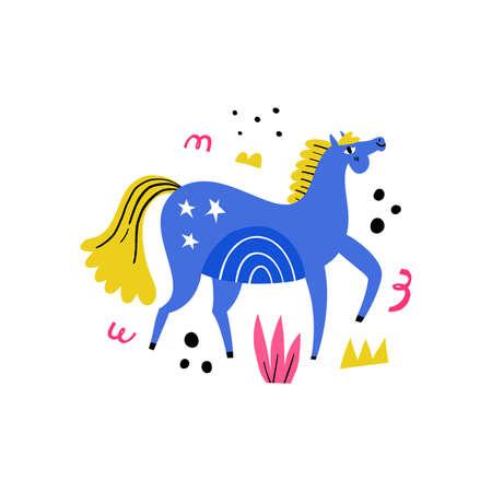 Dressage horse. Blue stallion walking