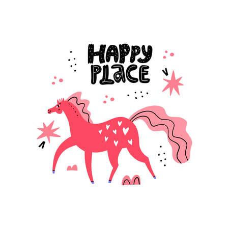 Dressage horse. Pink mare walking