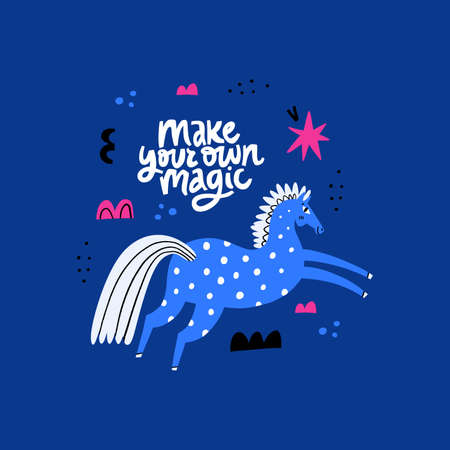 Blue horse scandinavian style drawing. Stallion galloping, jumping, vaulting. Make your own magic. Handwriting lettering phrase. Equestrian sport flat hand drawn vector. Equestrian sport. Racehorse. 向量圖像