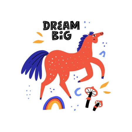 Happy walking horse. Stallion galloping, jumping, vaulting. Dream big. Handwriting lettering phrase. Equestrian sport flat hand drawn color vector illustration. Racehorse. Scandinavian style. Illustration