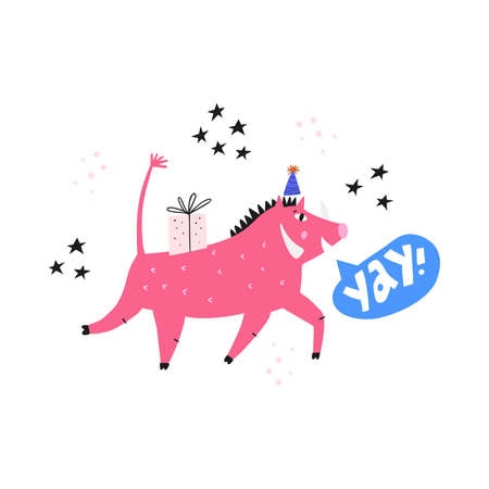 Birthday holiday event fun flat vector illustration. Cute african warthog in party hat shouting Yay cartoon illustration. Fairytale wild boar for childish postcard design, funny poster layout Иллюстрация