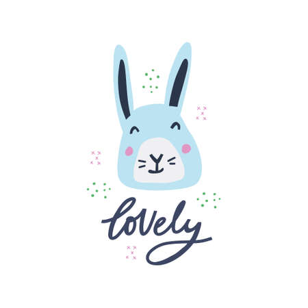 Lovely hand drawn decorative color vector lettering. Cute skyblue hare in scandinavian style flat illustration. Wild rabbit and inscription calligraphy on white backdrop. Child t shirt design idea