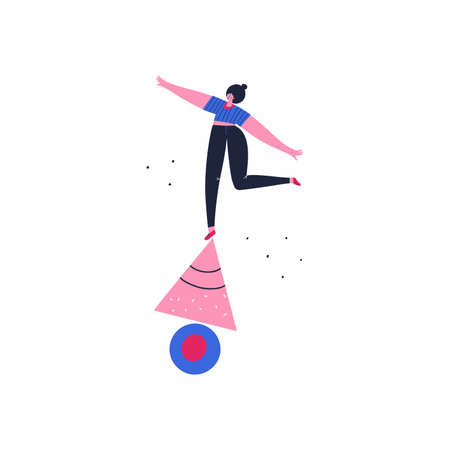 Girl on circle and triangle vector illustration. Work, self development concept. Balancing female doodle drawing. Woman standing on geometric shapes flat character isolated on white background