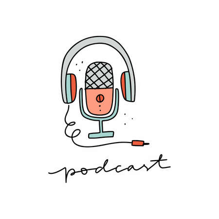 Media tools, earphones and mic doodle icon. Sound recording equipment, broadcasting facilities handdrawn vector illustration. Podcast studio items, microphone and headphones isolated color drawing