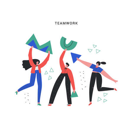 Business team, work and aid vector illustration. People with geometric shapes doodle drawing. Teamwork, partnership, cooperation concept. Coworkers flat characters isolated on white background 일러스트