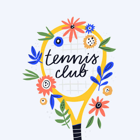 Tennis club, sport section flat vector illustration. Sports equipment doodle drawing with calligraphic inscription. Handdrawn tennis racquet with botanical decorations isolated on white background