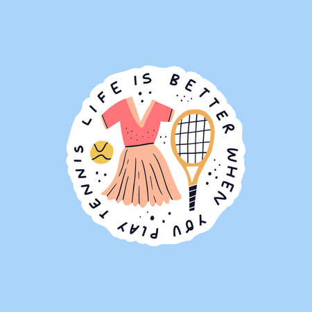 Life is better when you play tennis hand drawn vector lettering. Sportswear and sport equipment flat illustration with typography. Handwritten positive phrase inscription isolated doodle drawing Ilustrace