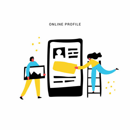 Online profile hand drawn flat vector illustration. Social media users, app developers cartoon characters. Online communication platform, mobile application development. Personal page design concept Ilustrace