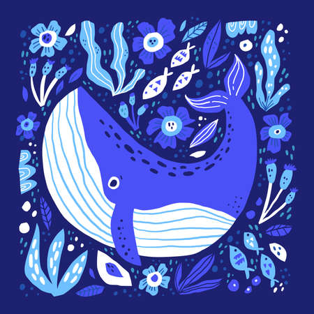 Adorable whale hand drawn flat vector illustration. Funny sea life cartoon character. Large ocean animal with flowers isolated on dark blue background. Childish t shirt print design